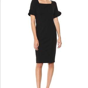 Donna Morgan Black Ruffle sleeve sheath Dress NWT